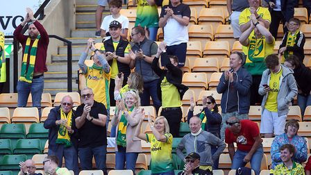 The Norwich fans were content with their side's display after the 2-2 draw with Preston. Picture: Pa
