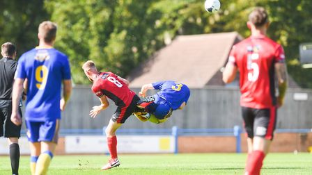 Alex Brown was upended midway through the first half Picture: Ian Burt