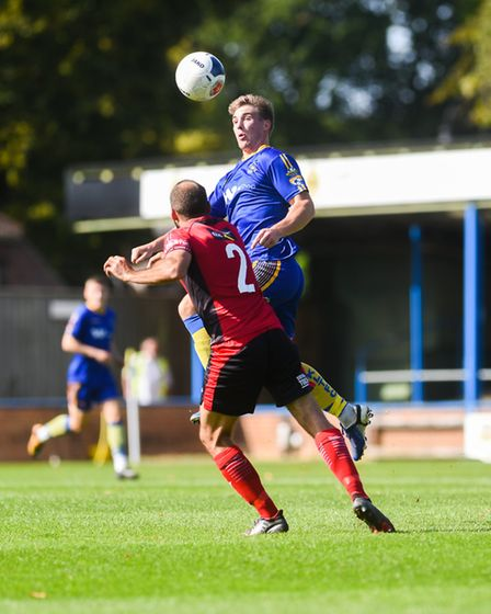 Dayle Southwell beats his marker to the aerial duel Picture: Ian Burt