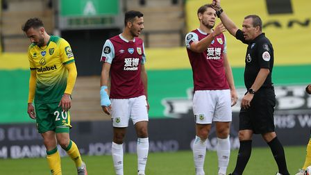 Drmic's last Canaries appearance saw him red carded against Burnley. Picture: Paul Chesterton/Focus