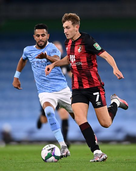 David Brooks in action during Bournemouth's 2-1 defeat at Manchester City in the League Cup on Thurs