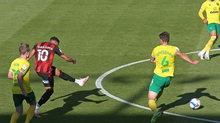 Arnaut Danjuma fired Bournemouth ahead against Norwich City at the Vitality Stadium Picture: Paul Ch