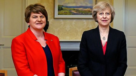 Arlene Foster (left), leader of the Democratic Unionist Party, with Prime Minister Theresa May.