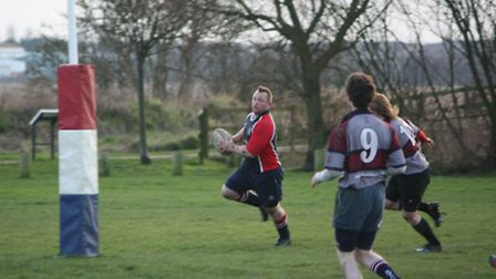 Barry Trett scores for Broadland-GY Tigers in the 42-10 win over West Norfolk
