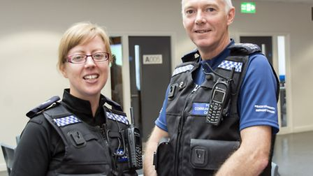 Pc Jenny French has joined PCSO Stuart King on the Thetford Academy policing team - the only one of