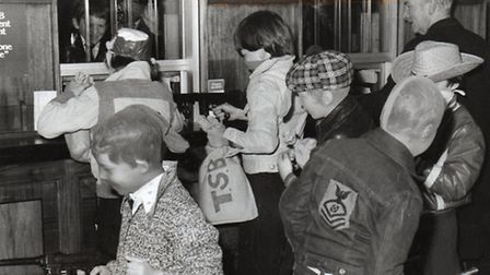 YOUR MONEY OR YOUR LIFE! Schoolboys stage a bank raid in Great Yarmouth town centre in 1977.