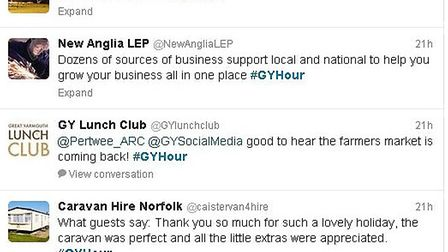 Some tweets from the first #GYHour on Twitter
