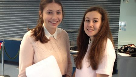 Flegg High School students Olivia Bayfield, 16, and Claudia Green, 15, on GCSE results day