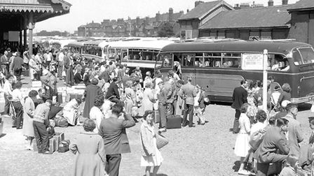 BUSTLING BEACH COACH STATION...this high-summer 1962 shot shows the terminus at its busiest, a year