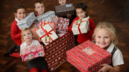 Pupils at Edmund de Moundeford Primary School in Feltwell have donated shoeboxes for less fortunate