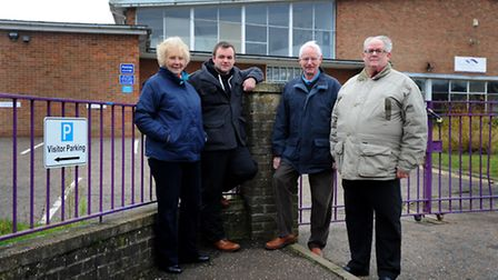 Cllrs outside the Thetford Academy site which they are due to reopen for community use.l-r:Cllr Sylv