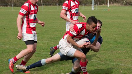 Action from Thetford's 69-16 win against Fakenham, which secured them the Eastern Counties Two title