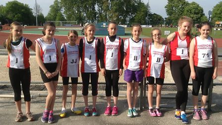 The female representatives of Thetford AC at an East Anglian Youth League track meeting in Bury.