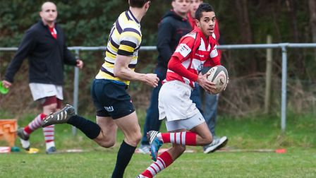 Malik Lock on his way to scoring the late try which sealed a 27-24 win over rivals Thurston and prom