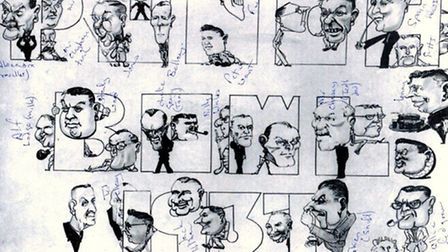 CHARACTER STUDIES: the 33 men and the name of the venue in this pre-war cartoon have puzzled Peggott