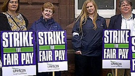 Unison members form a picket line outside Great Yarmouth town hall. Picture: submit