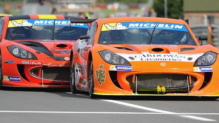 The British Touring Cars championships at Snetterton. The Michelin Ginetta GT Supercup race, led by