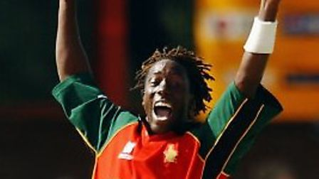 Henry Olonga of Zimbabwe appeals during the World Cup Super Six One Day International between Kenya