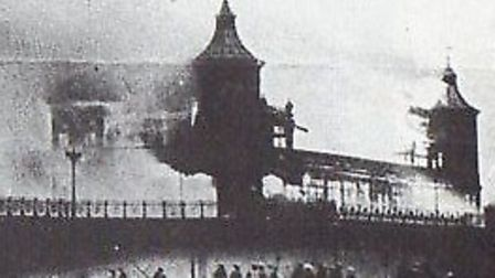 GUTTED: fire ravages the previous Pavilion in 1909.Pictures: CLIFFORD TEMPLE