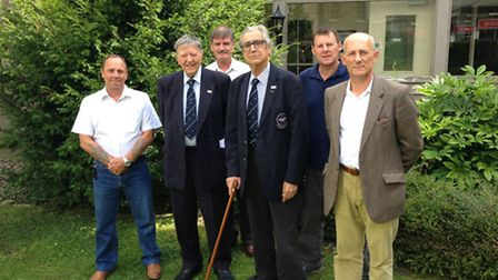 Charles Clarke, second left, and Andrew Wiseman, third right, with RAF Regiment Association members.