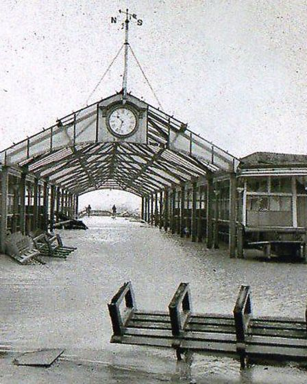 STILL STANDING: the original glazed entrance to the Jetty at it looked the morning after the January