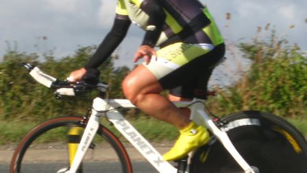 CC Breckland veteran Mick Wood racing in the Stowmarket and District 10-mile event on the A14 course