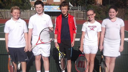 Thetford Tennis Club junior players who competed at Risbygate Tennis Club.