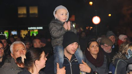 Thetford Christmas Lights 2013 switched on by Norwich Under 21 player Cameron King.Photo: Sonya Dunc