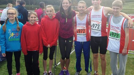 Thetford AC athletes with Team GB athlete Jess Judd (centre) at the English National Cross-Country R