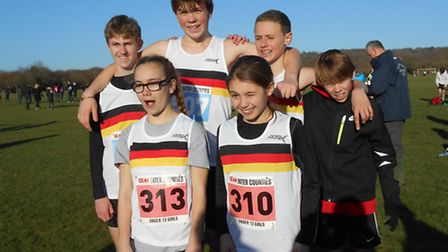 The six Thetford AC athletes who represented Norfolk at the Southern Inter-County Cross Country Cham