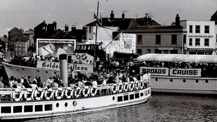 DANCING ON DECK: the pleasure trippers Queen of the Broads and Golden Galleon, pictured in 1972, fea