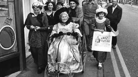 PUBLICITY PARADE: a Yarmouth town centre tour in 1977 to promote an Arts and Crafts Fair at St Georg