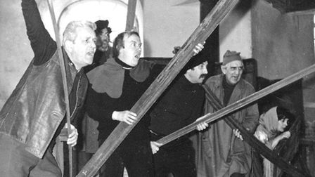 PIONEERING PRODUCTION: The Masquers rehearse The Norfolk Furies in 1975 (L-R) Geoff Taylor, Arnold B