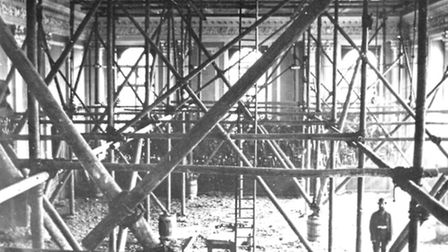 NEEDING REPAIR! The assembly room at the new Great Yarmouth Town Hall in 1887-88 during remedial rep