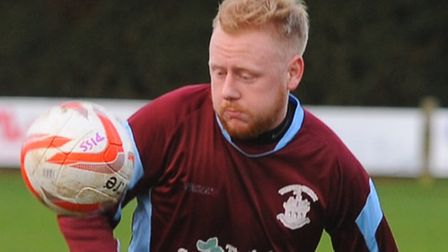 James Dean scored for Thetford at Walsham-le-Willows. Picture by: Sonya Duncan