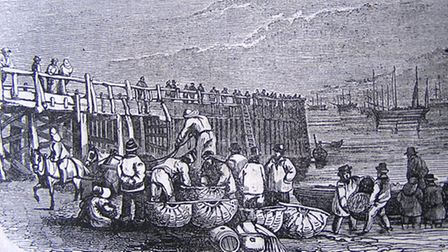 ANIMATED: a 19th century print of fishing boats near Yarmouth's Jetty, an illustration from the old