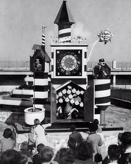 TIMELY ATTRACTION: the Guinness Festival Clock spent the summer of 1955 in the Marina Gardens on Yar