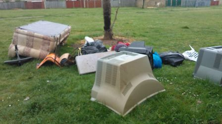 The waste that was dumped in a communal area in Thetford