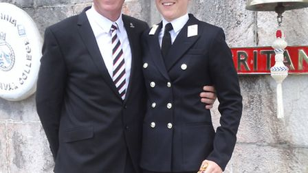 FOLLOWING IN FATHER'S FOOTSTEPS...Proud Gorleston-born Dad Bob Aindow with his youngest daughter, Al