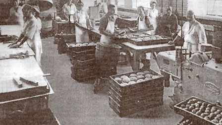 ANNIVERSARY CAKES: pastry-cooks at work in Matthes bakery in Gorleston in 1948, the year the company
