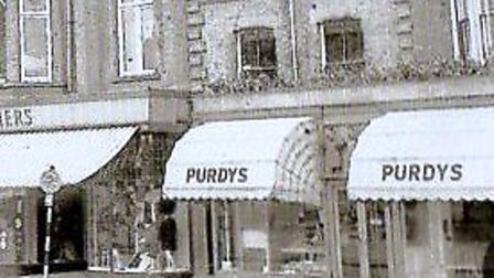 LONG GONE! Purdy's baker's shop and coffee bar in Great Yarmouth Market Place, next to Palmer's depa