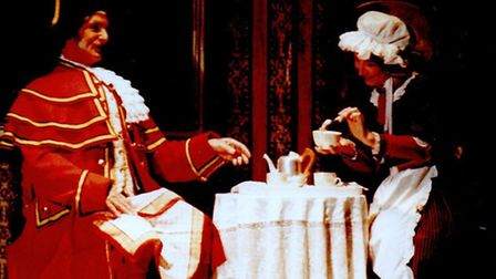 DINNER IS SERVED: David Applethwaite as Beadle Bumble and wife Linda as Widow Corney in the 1992 pro
