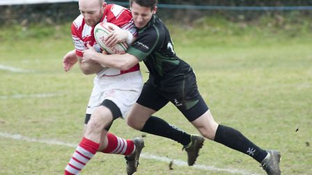 Action from Thetford's 20-15 loss at Newmarket in Eastern Counties One. Picture: Mark Westley Photog