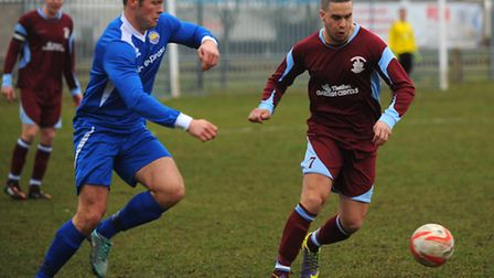 Bruno Tavares in action for Thetford Town against Kirkley & Pakefield at Mundford Road. Picture: Son