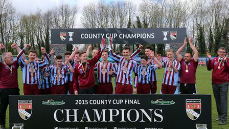 Thetford U16s celebrate beating Lakeford Rangers in the John Savage Cup final at the FDC in Norwich.