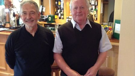 Adrian Symonds (left), who had a hole-in-one at the 11th in Thetford GC's Spring Open, alongside par