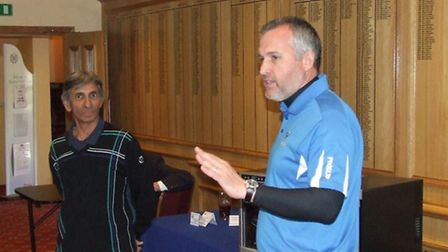 Paul Swindells thanks the organisers after winning Thetford GC's Spring Open with partner Tony Murik