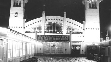 A WET WELLINGTON...but 1958 audiences were cheered up by Pier Pavilion stars Tommy Cooper and Ruby M