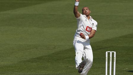 Sussex's Tymal Mills bowling during day two of the LV County Championship match between Sussex and W