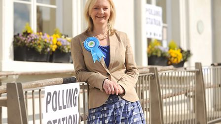 Liz Truss outside Swaffham Assembly Rooms. Picture: Ian Burt
